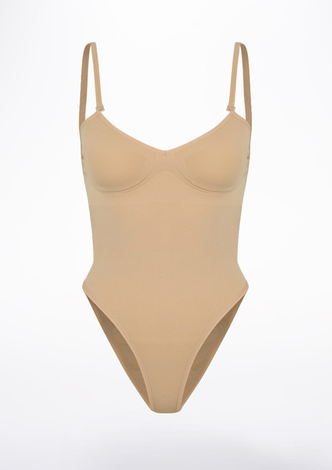 Bloch Seamless Brief Bodysuit Tan front. [Tan]