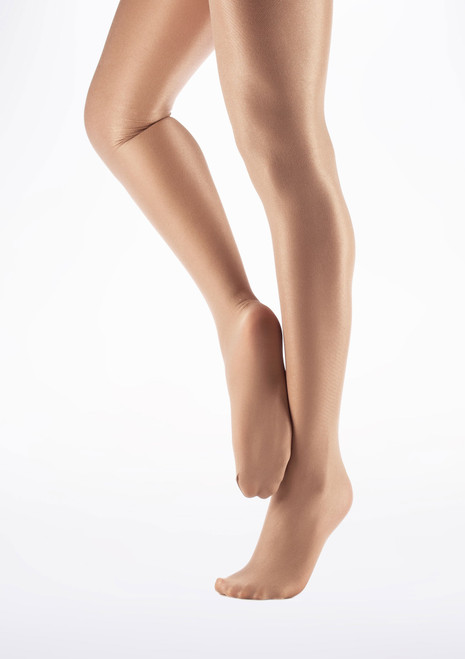 Capezio Shimmer Footed Dance Tights Suntan. [Tan]