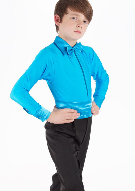 Move Boys Pablo Coloured Dancesport Shirt Blue front. [Blue]