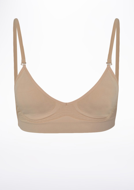 Bloch Luelle Seamless Leotard Bra Tan front. [Tan]