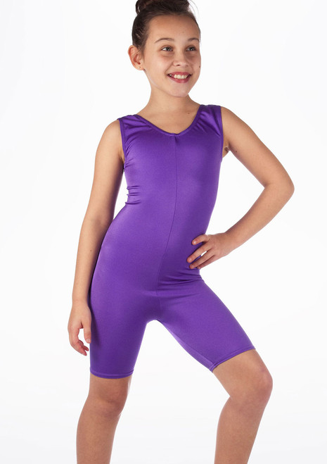 Alegra Girls Shiny Cycle Unitard Purple front.