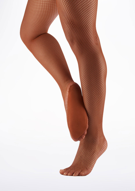 Capezio Professional Fishnet Seamless Dance Tights Toffee Brown main image. [Brown]