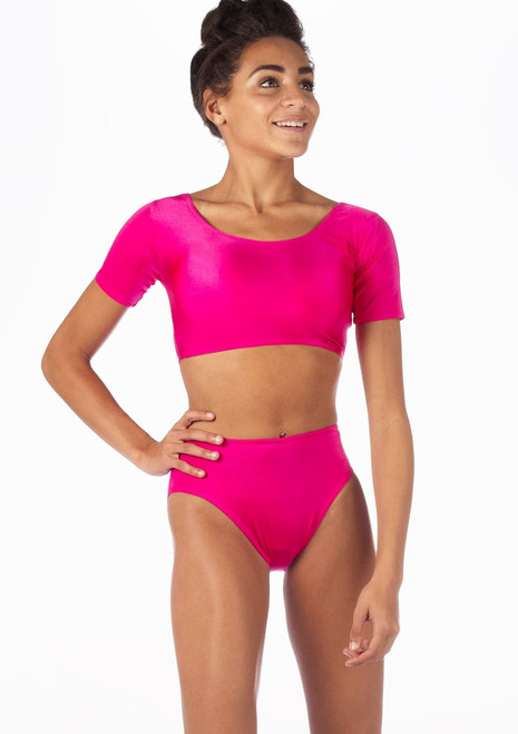 Alegra Shiny Odele Dance Top Pink front.