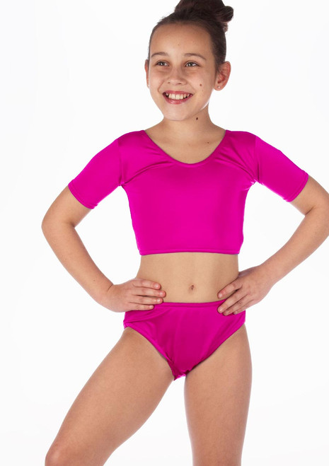 Alegra Girls Shiny Odele Dance Crop Top Pink front. [Pink]