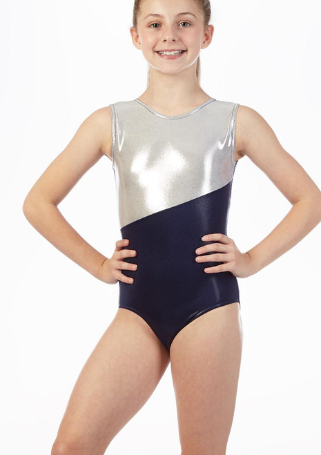 Alegra Girls Georgie Sleeveless Gymnastics Leotard Blue front. [Blue]