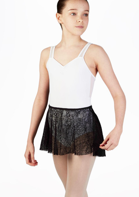 So Danca Floral Lace Teens Dance Skirt Black. [Black]