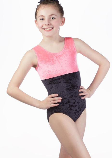 Intermezzo Velour Sleeveless Gymnastic Leotard Pink front. [Pink]