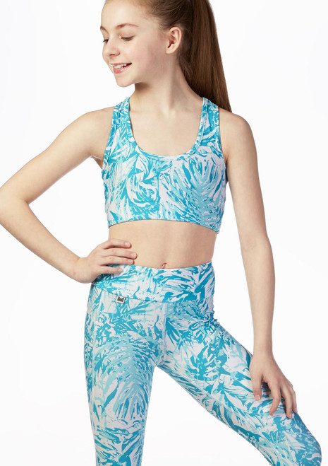Dare2b Girls Crop Top Blue front. [Blue]