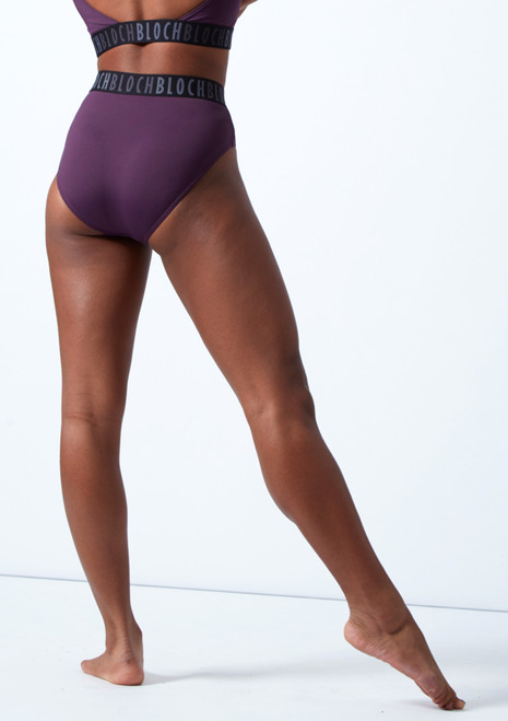 Bloch Teigan High Waisted Dance Briefs Deep Purple Back-1T [Deep Purple]