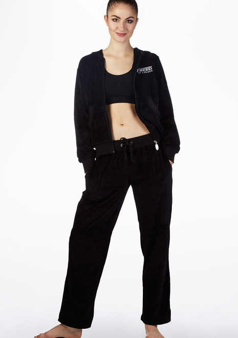 Freed Velour Warm Up Dance Tracksuit Black front. [Black]