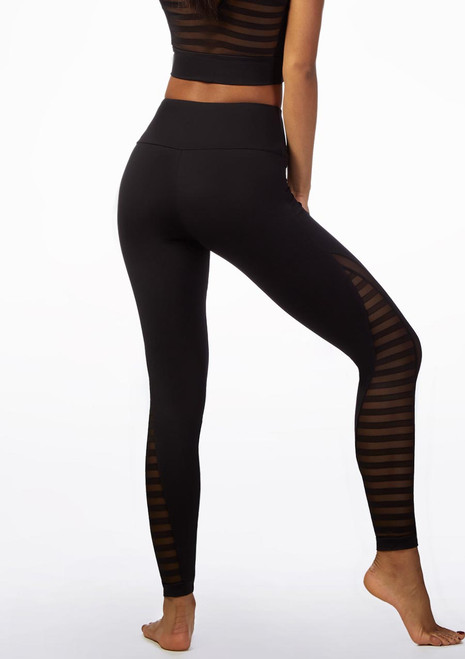 So Danca Striped Mesh Dance Leggings Black front. [Black]