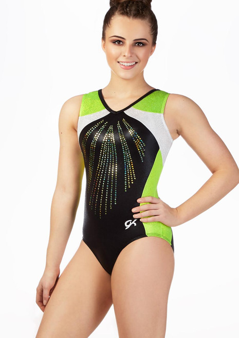 GK Elite Black Pearl Leotard Green front. [Black-Green]