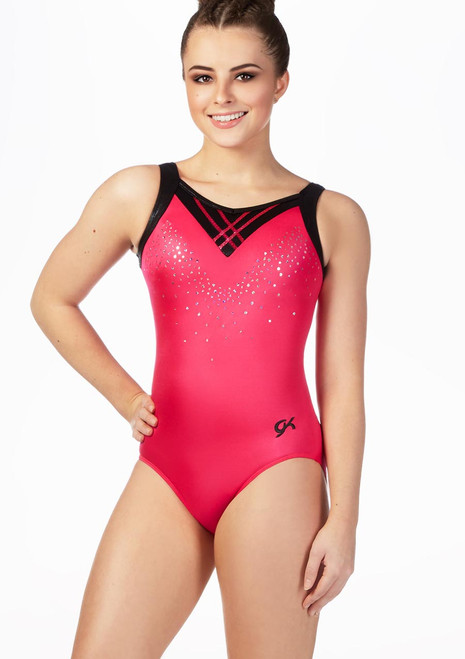 GK Elite Cherry Lipstick Sequined Leotard Pink front. [Pink]