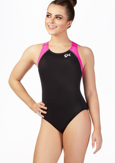 GK Elite Berry Breeze Racerback Leotard Black-Purple front. [Black-Purple]