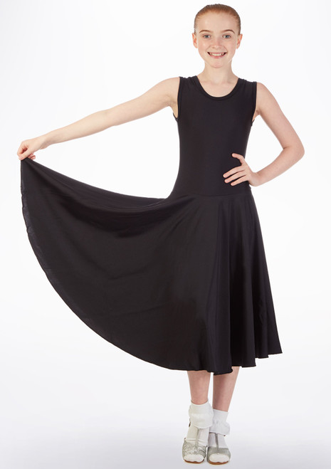 Tappers & Pointers Girls Tank Ballroom Dress Long Black front. [Black]