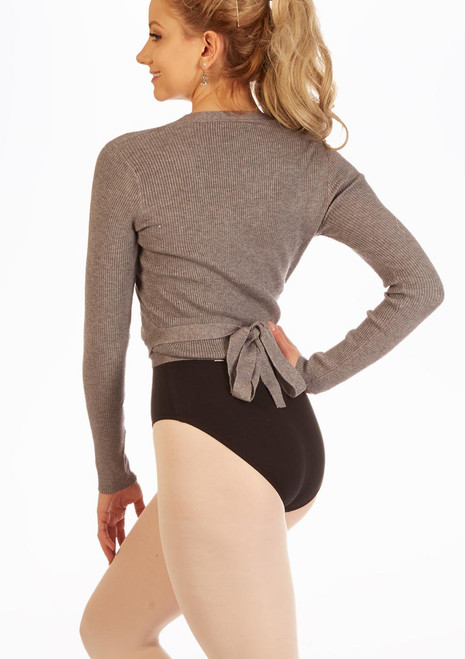 Capezio Soft Knitted Ballet Wrap Grey front. [Grey]