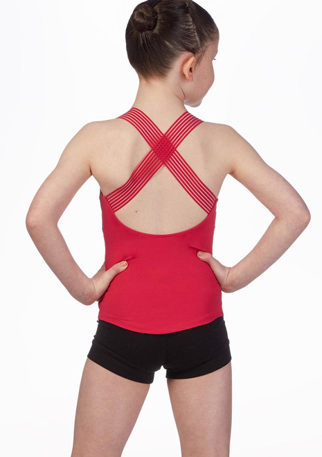 Bloch Stripe Cross Back Dance Top* Pink back. [Pink]