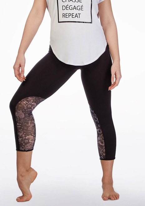 Bloch Floral Mesh Crop Leggings* Black front. [Black]