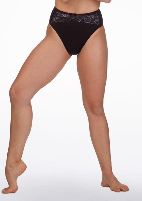 Bloch Floral Mesh Dance Brief* Black front. [Black]