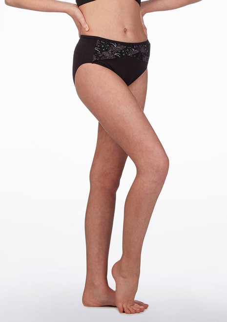 Bloch Floral High Waist Dance Brief* Black front. [Black]