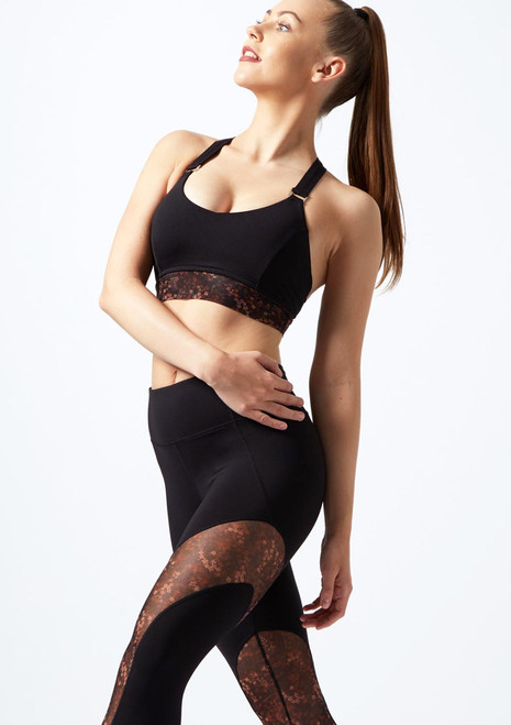 Bloch T-Back Crop Top* Black front. [Black]