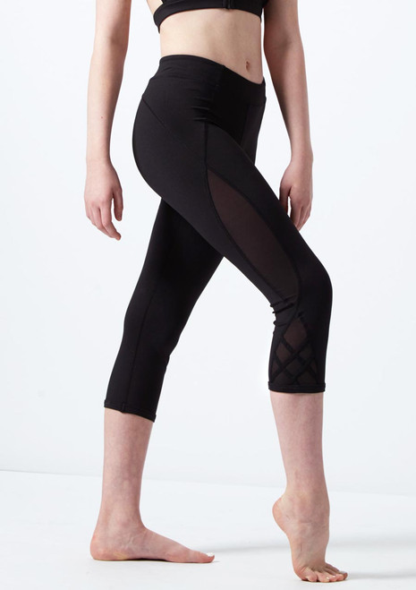 Bloch Teen Mesh 3/4 Dance Leggings* Black front. [Black]