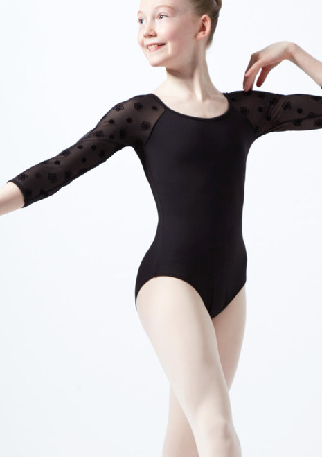 Bloch Girls Floral Mesh 3/4 Sleeve Leotard* Black front. [Black]