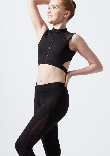 Bloch Girls Zip Front Mesh Crop Top* Black front. [Black]