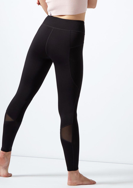 Capezio Renewal Mesh Panel Leggings Black back. [Black]