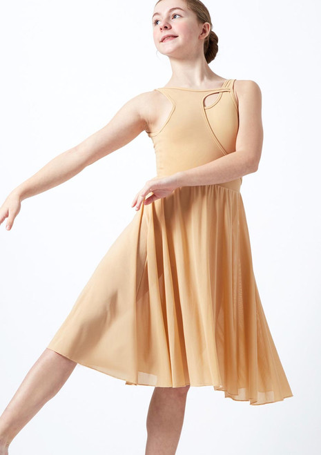 Move Dance Teen Titania Cut Out Lyrical Dress front. [Tan]