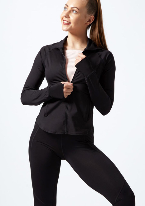 Capezio Renewal Warm Up Jacket Black front. [Black]