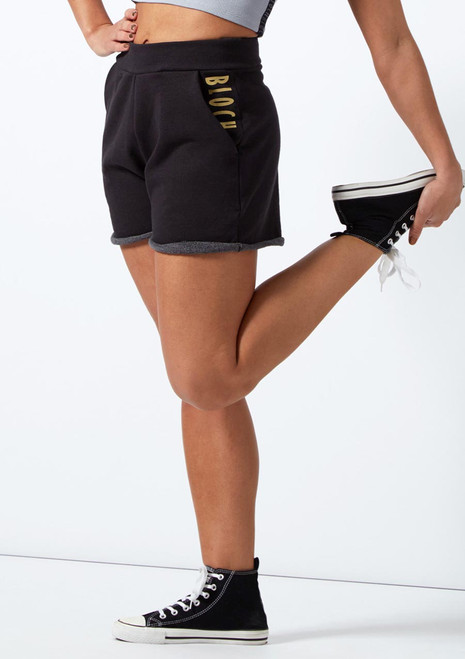 Bloch High Waisted Shorts Black front. [Black]