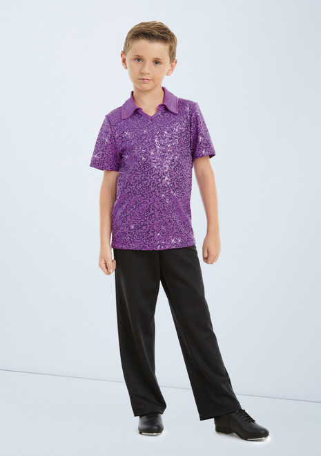 Weissman Sequin Collar Shirt Purple front. [Purple]