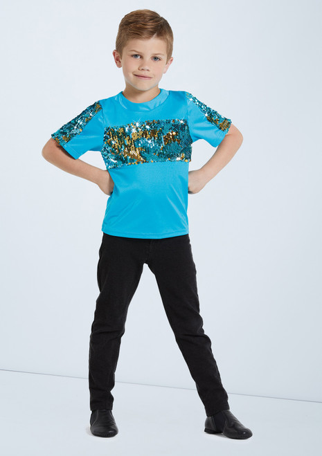 Weissman Boys Two Way Sequin Shirt Blue front. [Blue]