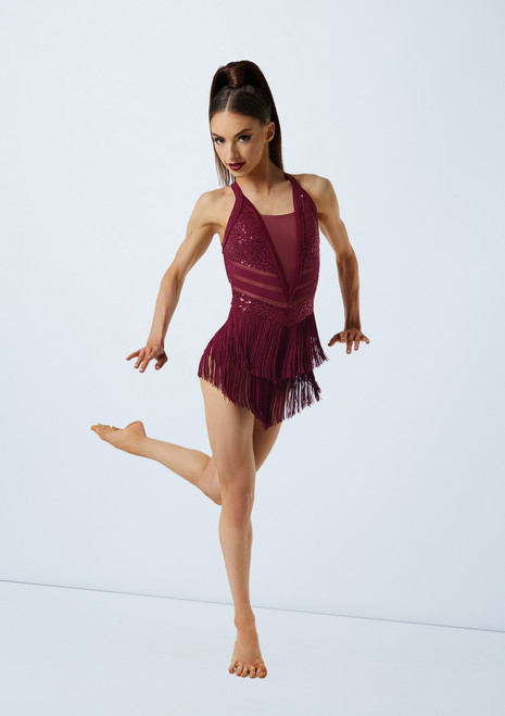 Weissman Plunge Dress With Fringe Red front. [Red]
