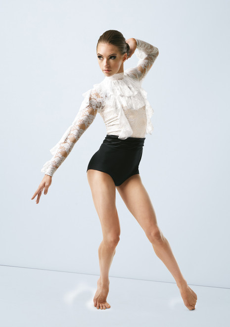 Weissman Ruffled Lace Leotard Black-White front. [Black-White]