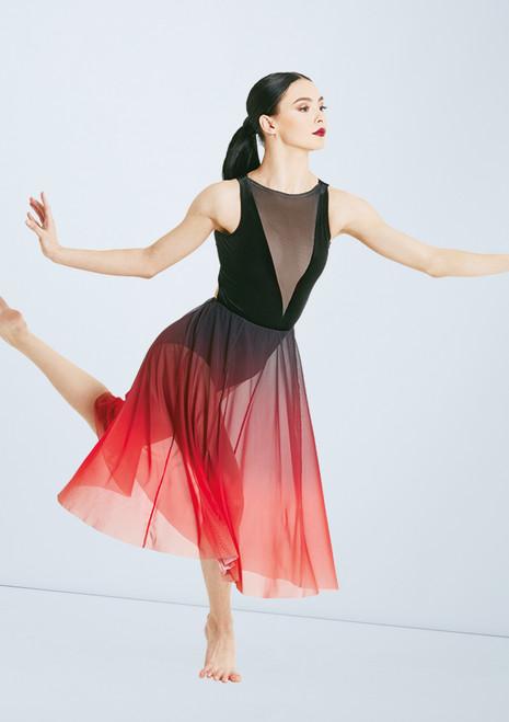 Weissman Velvet And Ombre Mesh Dress Black-Red front. [Black-Red]