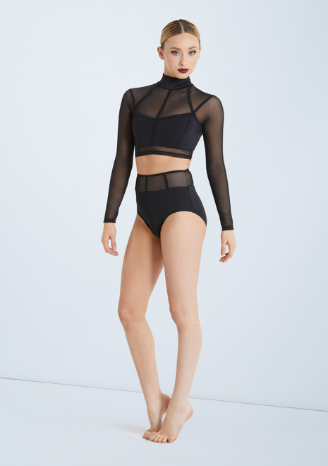 Weissman Cage Strap Crop Top Set Black front. [Black]