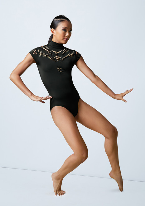 Weissman Woven Mock Neck Leotard Black front. [Black]