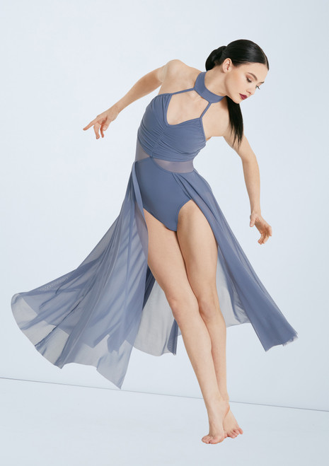 Weissman Rtuched Dress With Mesh Skirt Blue front. [Blue]