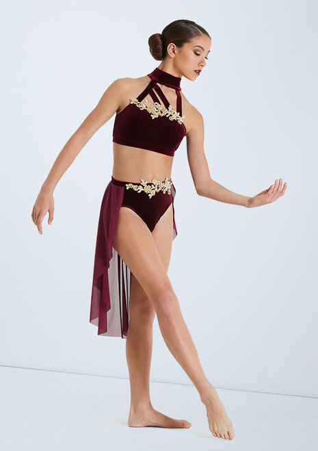 Weissman Velvet Bra Top And Skirt Set Red front. [Red]