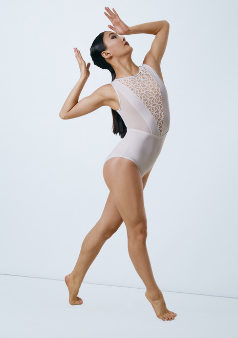Weissman Laser Cut Leotard With Mesh White front. [White]