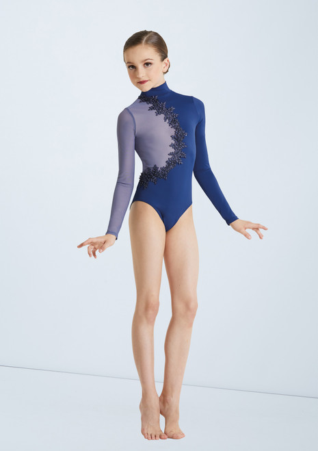 Weissman Two Tone Mock Neck Leotard Blue front. [Blue]
