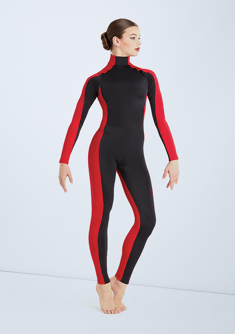 Weissman Two Tone Colourblock Unitard Black-Red front. [Black-Red]