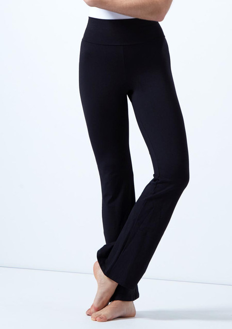 Intermezzo High Waist Bootcut Leg Dance Pants Black front. [Black]