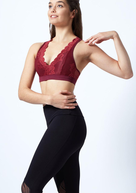 So Danca Floral Embroidered Bra Top front. [Red]