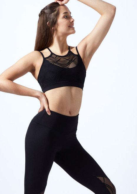 So Danca Harlequin Mesh Crop Top Black front. [Black]