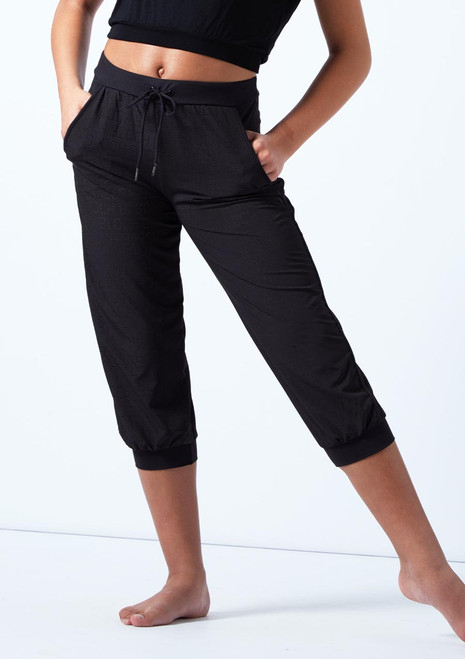 Bloch Teen Perforated Cropped Pants Black front. [Black]