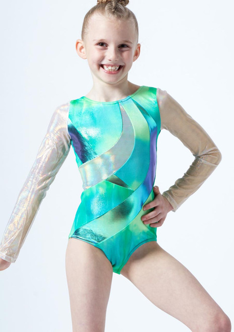 Capezio Girls Long Sleeve Leotard* Green front. [Green]