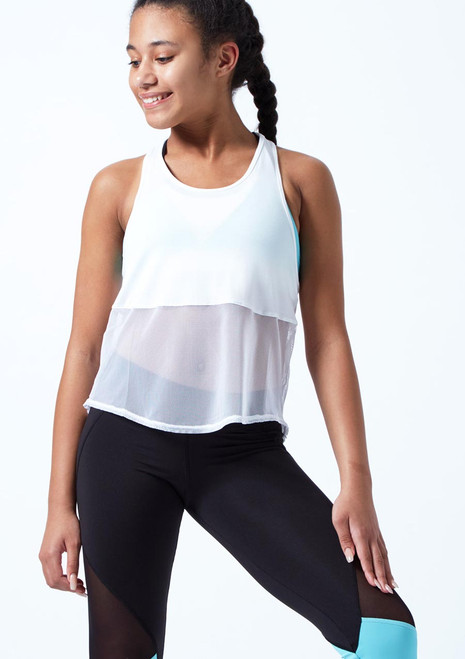 Bloch Teen Mesh Tank Sleeve Dance Top White front. [White]